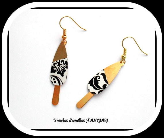 Elegant Collection: Black and White Black and White Baroque Printed Brass Drop Earrings, Elegant, Elegant, Elegant Woman Gift