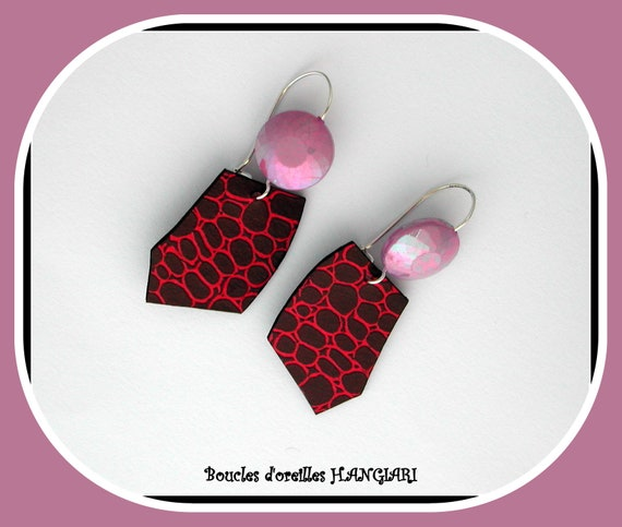 Birthday or gift, SIMILI RASPBERRY LEATHER earrings, eggplant-colored skin, original polygon shape, light