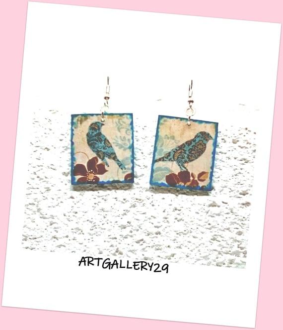 Boucles d'oreilles japonaiserie, papier japonais, oiseau bleu, boucles d'oreilles japonaises motif oiseau, papier japonais imprimé oiseau