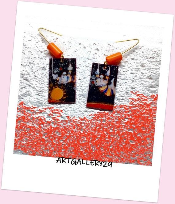 Boucles d'oreilles thème du cirque clown acrobate sur papier, ton noir/orange, peinte à la main, pièce unique, minimaliste