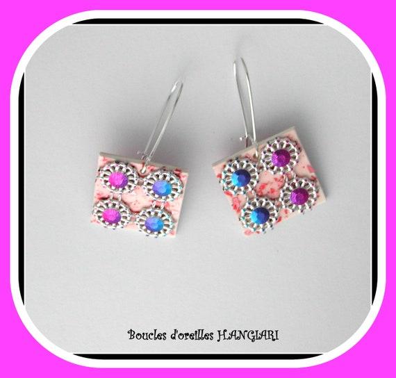ETSY pink fushia // Earrings, FUSHIA pink, petrol blue, STRASS pink / blue, fuchsia square, blue square, rhinestones on square