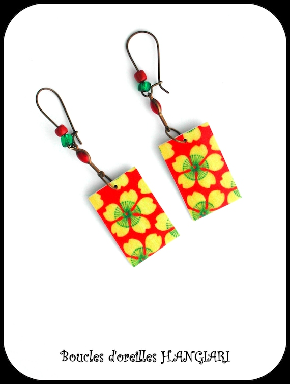 Japanese collection: flower earrings, daisy, Japanese flower paper, yellow / red / green, promo code PRIVILEGE20
