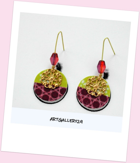 BICOLOR COLLECTION: Trendy purple and anise paper earrings, gold flower filigree, long golden hook