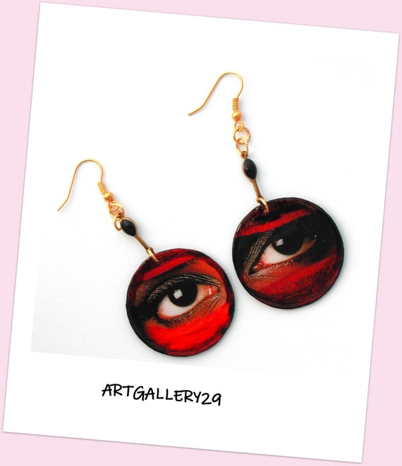 Ethnic ETSY // Earrings look, Touareg look, Touareg eyes, ethnic look, round black enamel paper