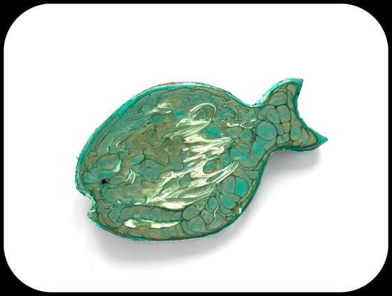 Turquoise / gray fish brooch, cardboard, fantasy prism ~ big and original brooch