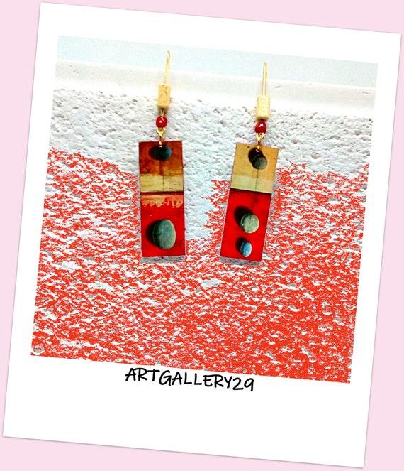 ART ABSTRAIT-- Artistic earrings painting abstract art pebbles, navy print, sea theme earrings, marine jewel