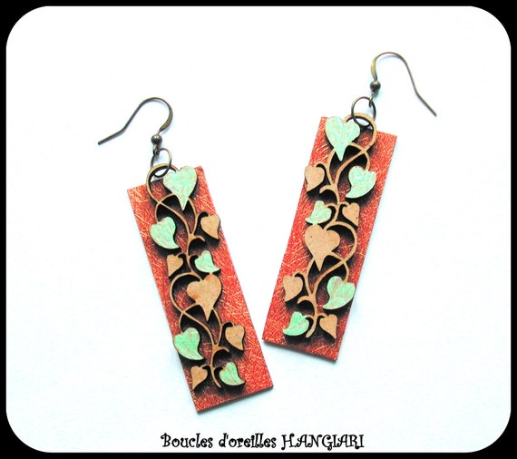 ETSY // Long rectangle cascading autumn leaf wooden earrings, carved earrings, brown / copper / green water