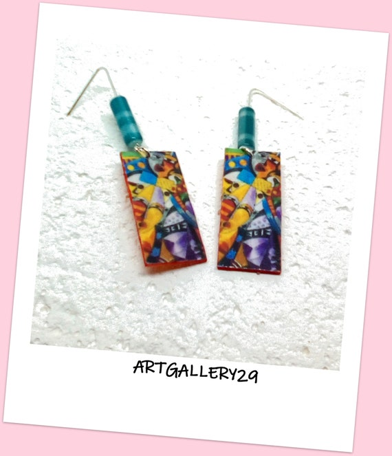 AFRICAN ART - Dangle earrings, abstract, colorful, multicolored, original, light, handmade, abstract / colorful jewel