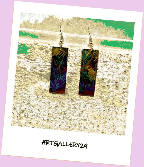 Boucles d'oreilles image imprimée sur rectangle, boucles d'oreilles multicolores motif forêt tropicale