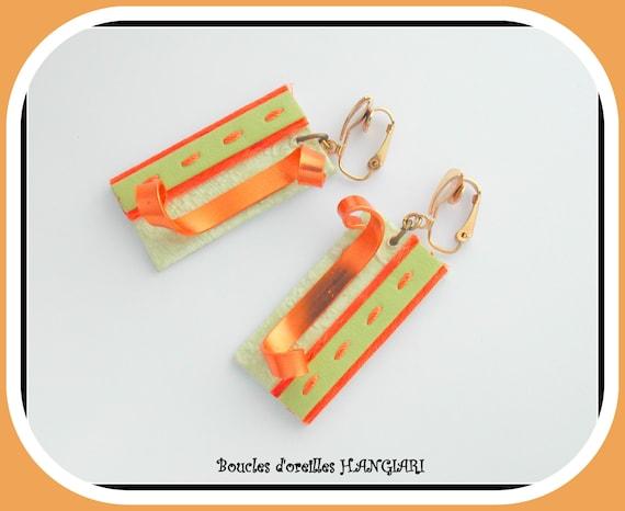 Earrings clips, rectangular, green anise, orange, flat gold aluminum, cardboard, original gift, original jewel, clips buckles