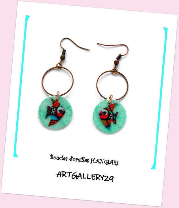 ETSY // Creole earrings, colorful fish, naive fish, bronze hooks, marine, marine style, marine jewelry, marine gift