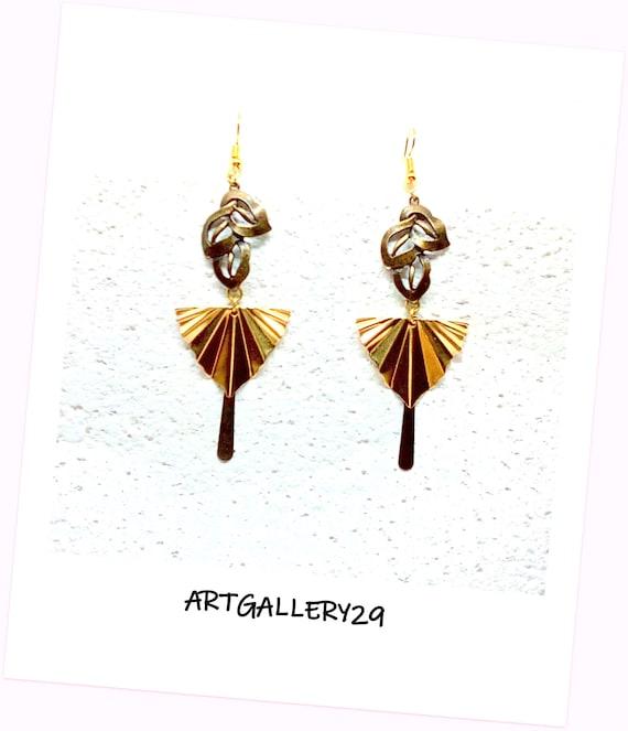 Boucles d'oreilles longues bohème chic, pendantes, bronze/ laiton, boucles d'oreilles longues éventail/goutte/ fleur