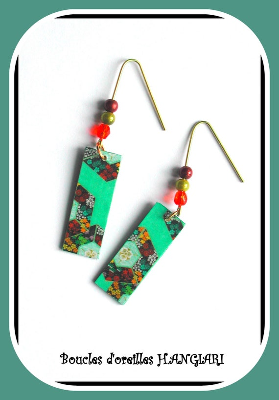 ETSY green rectangle // Long green rectangles earrings, multicolored floral pattern, gold hooks, refined green jewel