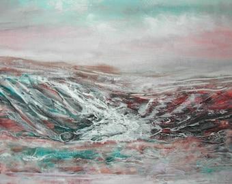 """ART/Décoration murale peinture, peinture acrylique """" mer basse en Finistère """" sur châssis coton non encadré H.ANGIARI"""