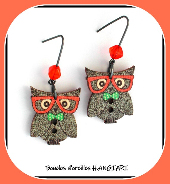 Owl collection: Wooden owl owl earrings, hand painted, owl owl lucky pendant earrings