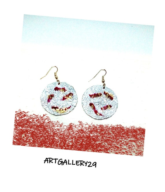 Aluminum collection: ARGENTEE earrings, red gold glitter line, round silver, crinkle effect, MARTELE metal effect, women's accessory