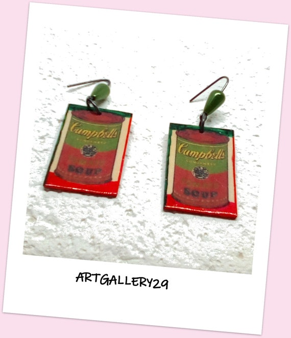 ANDY WARHOL - CAMBELL'S Tomato Soup Mismatched Earrings Digital Image, Vintage / Retro 60s Earrings