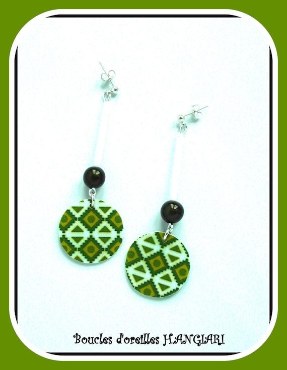 Apple green: Apple green pendant earrings, Aztec graphic pattern