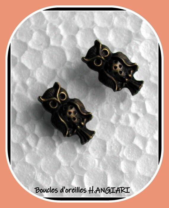 For little girl: Earrings, earrings, owl bronze metal happiness charm, little girl gift