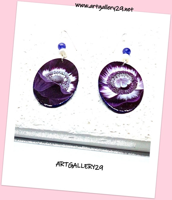 OVAL VIOLINE-- Oval purple earrings with flower hearts   amethyst pearls and white mother-of-pearl   long silver hooks