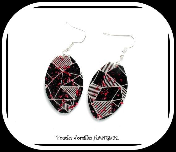 ETSY // Big black and white drop earrings, black and white graphic earrings, glitter earrings