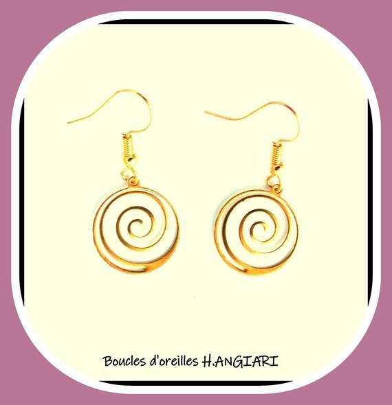 Spiral collection: Golden spiral earrings, golden snail earrings, golden minimalist, golden brass spiral, girl