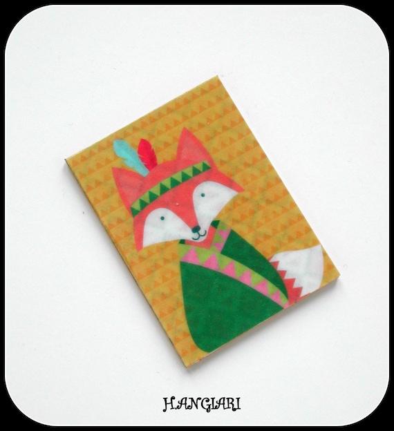RENARD--Fox brooch in print, hardwood cardboard, Native American fox pattern style