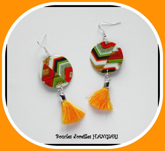 Collection # pompon #: graphic earrings, multicolored, yellow pompom, graphic pattern, aztec, gift idea, accessory woman, bohemian