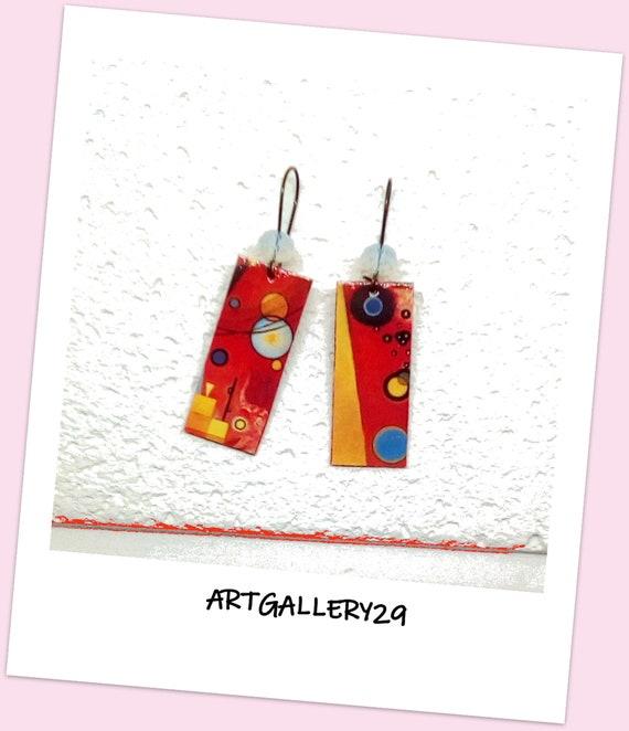GEOMETRIC-- Red/yellow geometric pattern earrings, modern abstract art style earrings, modern jewelry gift