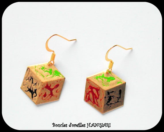 Original gold dice earrings, 3D flat shape effect, gold ear hooks
