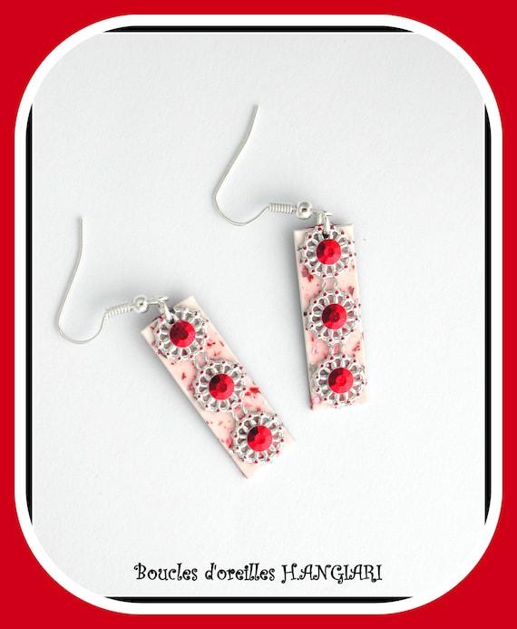 Etsy art deco: earrings, red ART DECO, long rectangles, STRASS, glitter, festive, bright, red rosette
