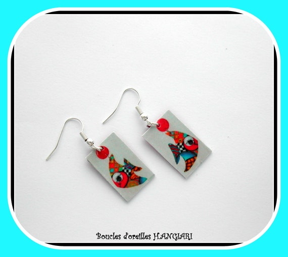 Earrings little girl FISH in earrings, painting, drawing of a fish on rectangle, earrings NAIVES