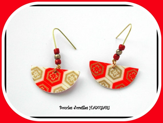 Asian Collection: Earrings, Japanese Paper, Red White Gold, Japanese Style, Trendy, Red and Gold, Long Earrings