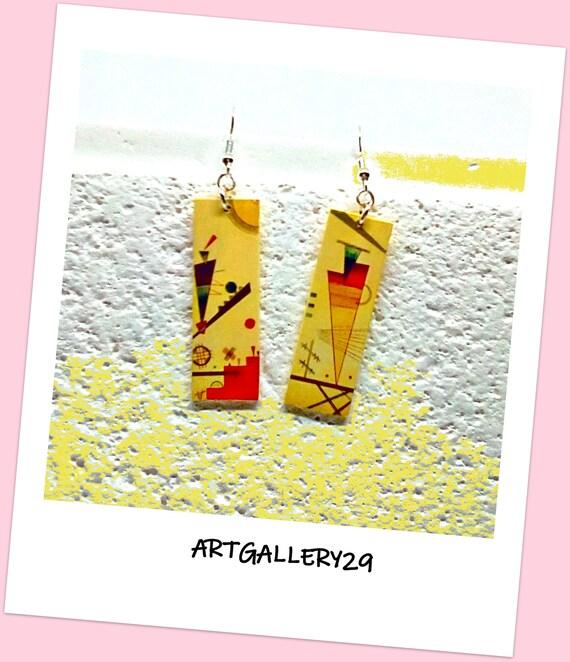 Boucles d'oreilles en argent 925 ,pendantes jaunes, motifs géométriques, moderne, printanières, boucles d'oreilles jaune