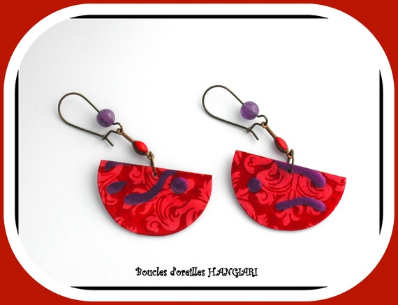 ETSY // Red and purple earrings, red vintage paper, purple amethyst, bronze junction, red enamel, bronze sleeper