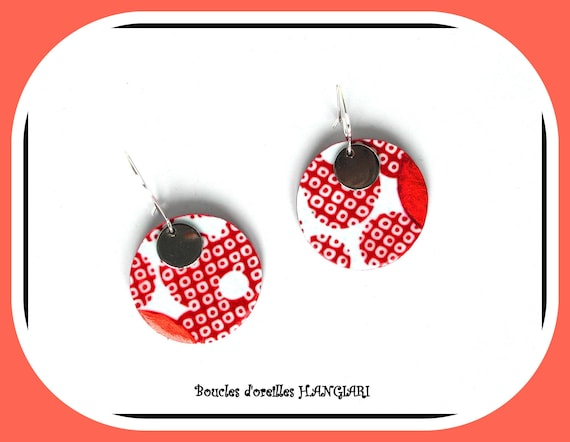 Graphic Collection: Round earrings, round japanese copper pea patterns, silver round sequin