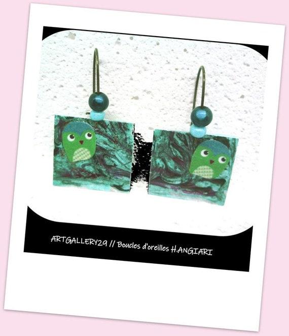 Owl earrings, fun earrings, square, owl, owl, hand painted, bronze hooks, sleepers