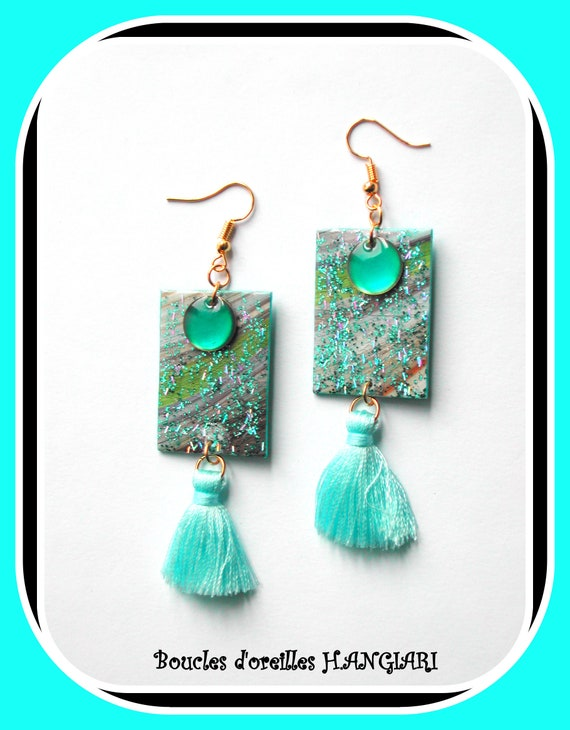 ETSY Turquoise and gold // turquoise tassel earrings rectangle translucent round enameled sequin, multicolored sequins on rectangle