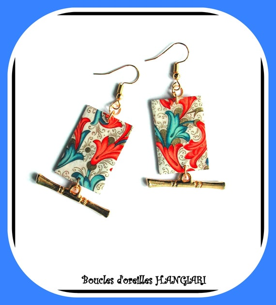 ART DECO Collection: COLORED earrings, art deco, art deco motif, paper, multicolored flowers, multicolored art deco rectangle
