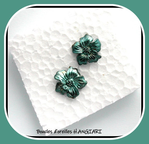 Turquoise ear studs | flower motif | Turquoise flower earrings, etsy turquoise ear studs, turquoise ear studs