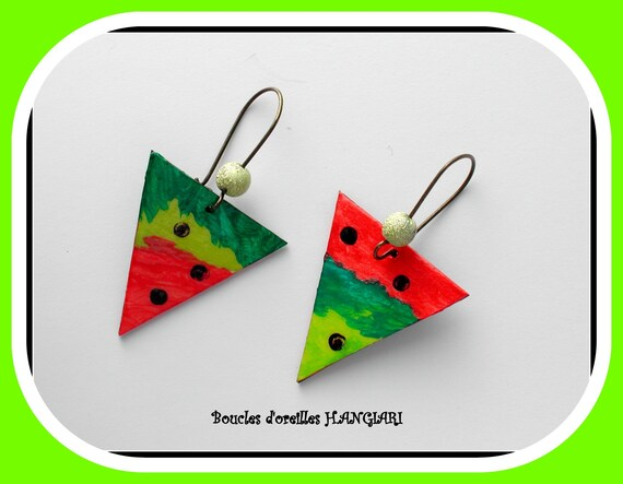 ETSY // Tricolor triangular earrings with black polka dots, coral, bottle green, anise green, bronze sleeper, metal bead