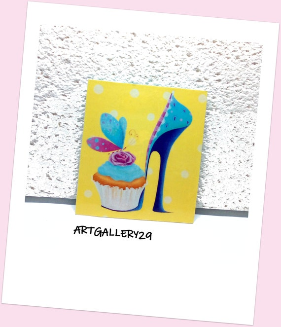 MAGNET-- Magnet, magnet, fridge accessory, handmade paint, stiletto shoe, cake, unique piece