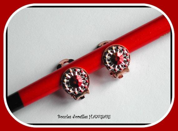 Mini clips, mini red rhinestone copper clip earrings, minimalist red rhinestone clips, coppery red, festive, minimalist clips