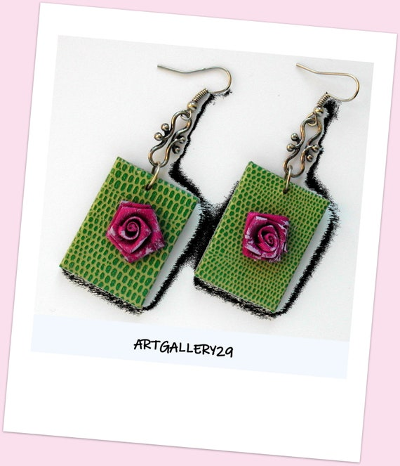 Faux leather COLLECTION: Elegant faux leather rectangular green rectangular earrings, flower fabric earrings