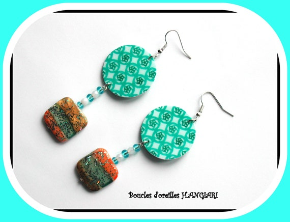 Japanese paper collection: Turquoise, mother-of-pearl, sequins, summer jewel, marine, seaside, seashell, japan paper earrings