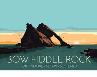 Bow Fiddle Rock, Portknockie, Moray, Scotland, UK - signed travel poster print