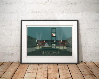 Stevenage, Hertfordshire, England, UK - signed travel poster print