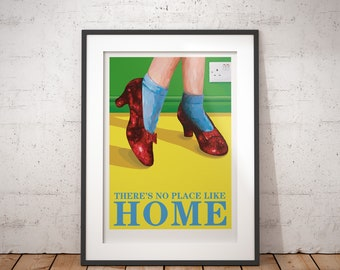 There's No Place Like Home/Ruby Slippers/Wizard Of Oz - signed poster print