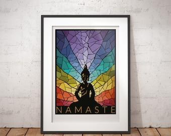 Namaste Yoga Meditation, Stained Glass Print - signed poster print