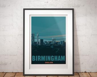 Birmingham, England, UK - signed travel poster print
